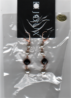 Faux pearl and black bead drop earrings (Code 2655)